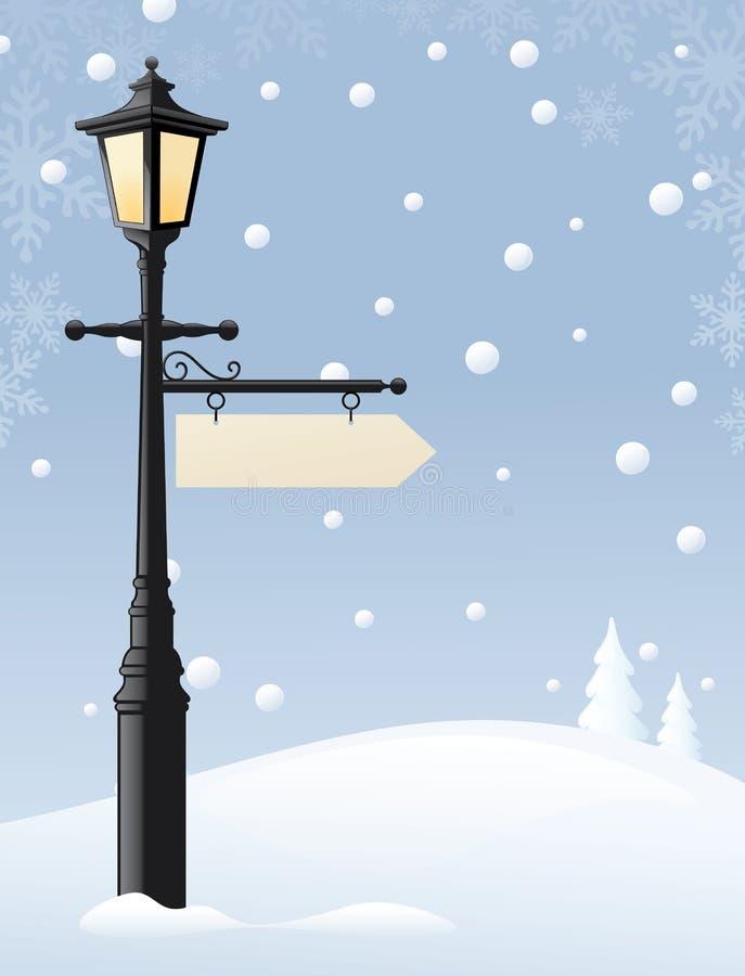 在雪的闪亮指示 向量例证