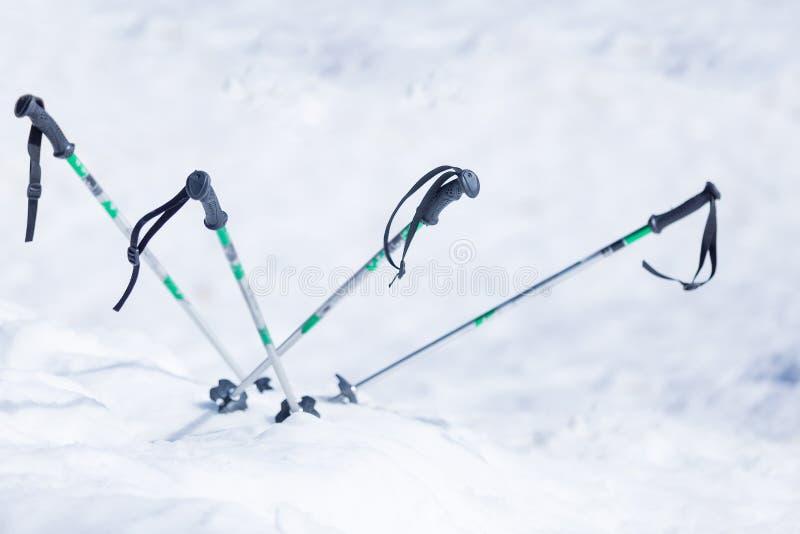 在雪的滑雪杆 库存照片