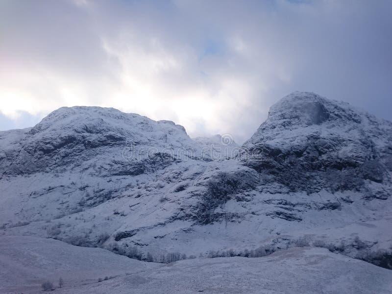 在雪的Glencoe 免版税库存照片