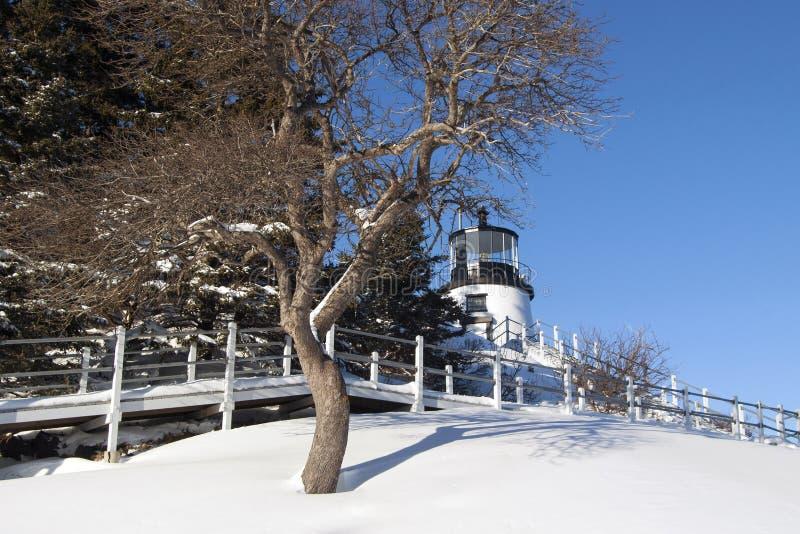 在雪盖的缅因灯塔 库存照片