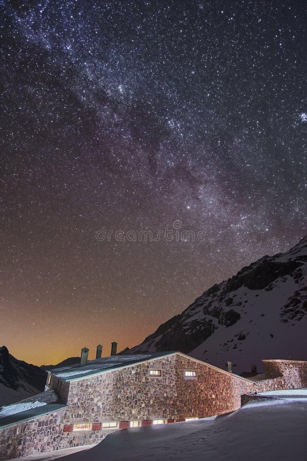 在雪盖的高阿特拉斯山脉山的银河星系 库存照片