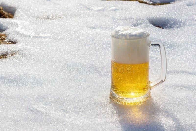 在雪背景的啤酒  免版税库存图片