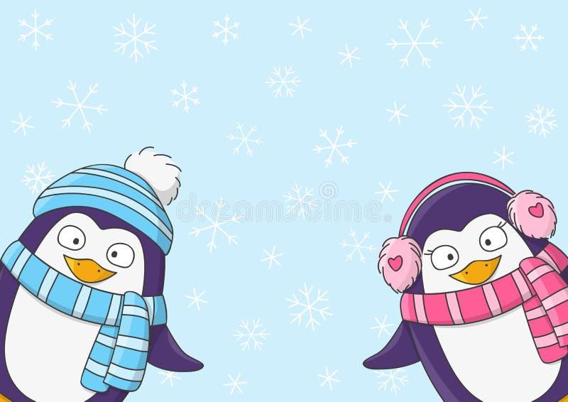 在雪背景的逗人喜爱的企鹅 皇族释放例证