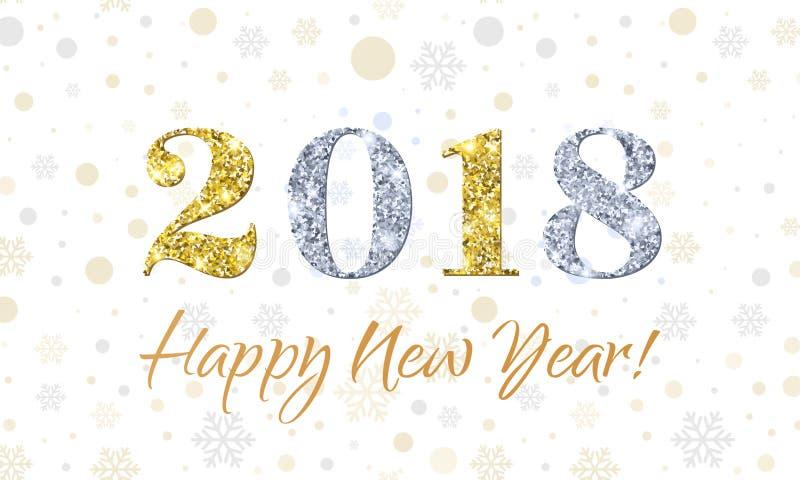 2018年在雪花传染媒介背景的新年快乐 金子和银闪烁纹理 库存例证