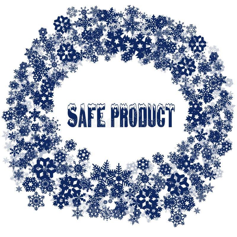 在雪花框架的斯诺伊安全产品文本 库存例证