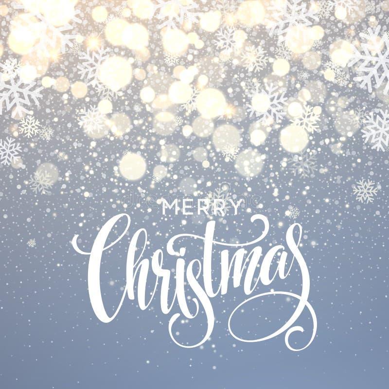 在雪花闪闪发光背景的圣诞节字法 也corel凹道例证向量 向量例证