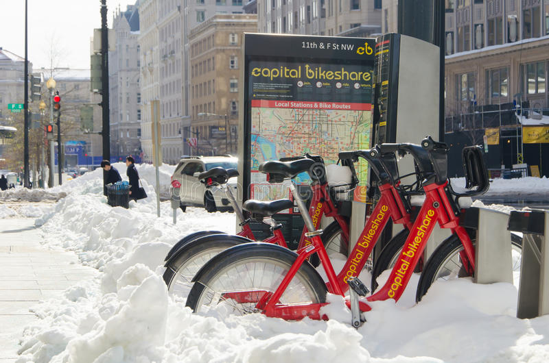 在雪风暴以后的华盛顿特区, 2016年1月 免版税库存照片