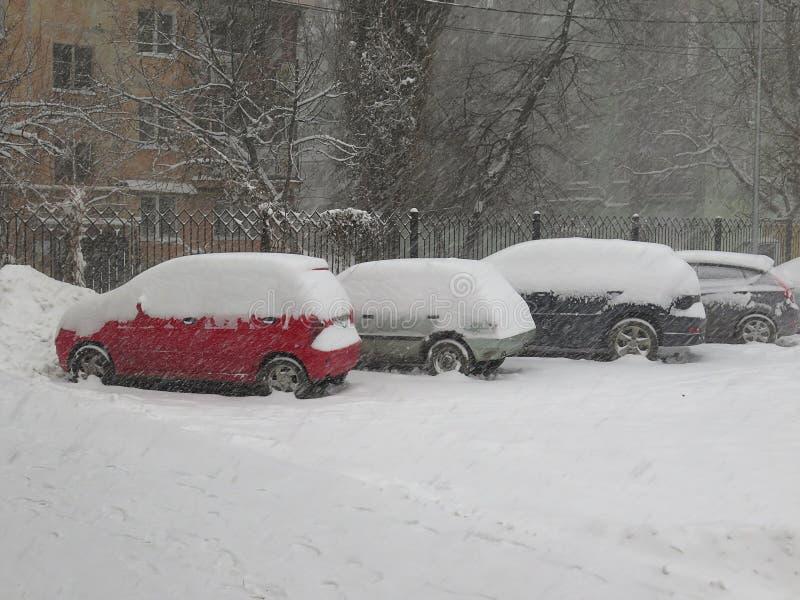 在雪,自然灾害冬天,飞雪下的汽车,大雪麻痹了城市,崩溃 积雪旋风欧洲 库存照片