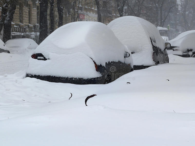 在雪,自然灾害冬天,飞雪下的汽车,大雪麻痹了城市,崩溃 积雪旋风欧洲 图库摄影