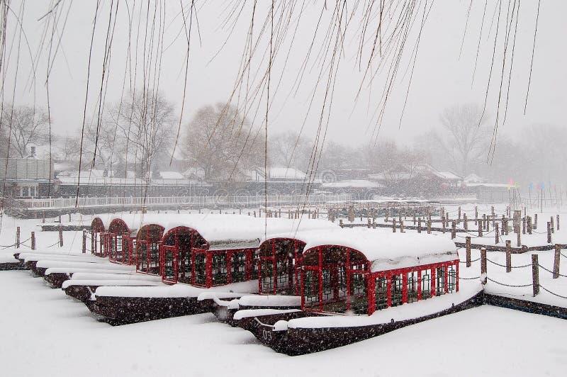 在雪以后的Houhai湖 库存照片