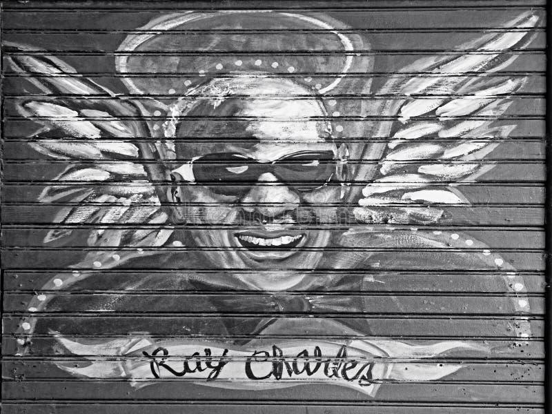 在雷・查尔斯木头的绘画法国街区的B&W 图库摄影