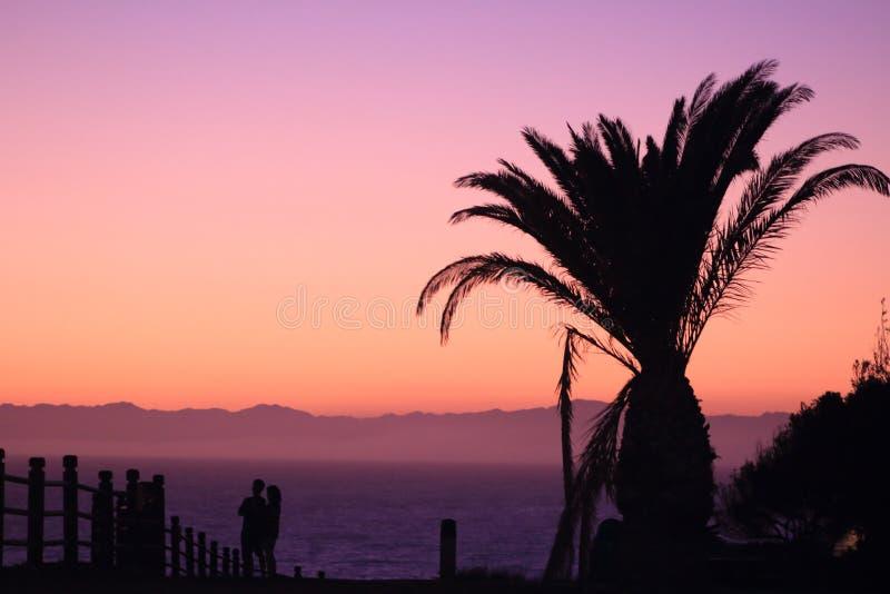 在雷东多海滩的晚上阳光 库存图片