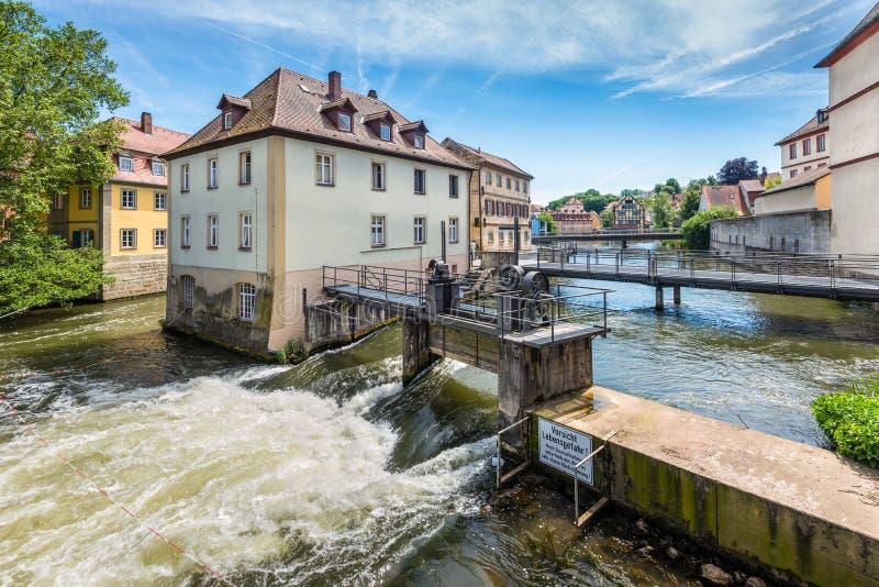 在雷格尼茨河河的供水系统在琥珀,德国 图库摄影