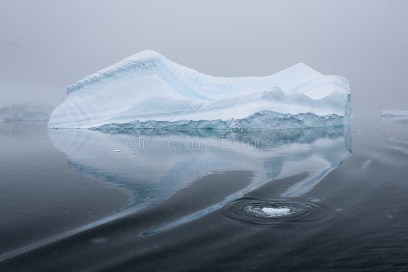 在雾和漂浮覆盖的雕刻的冰山在南极洲的黑暗的水域中 库存照片