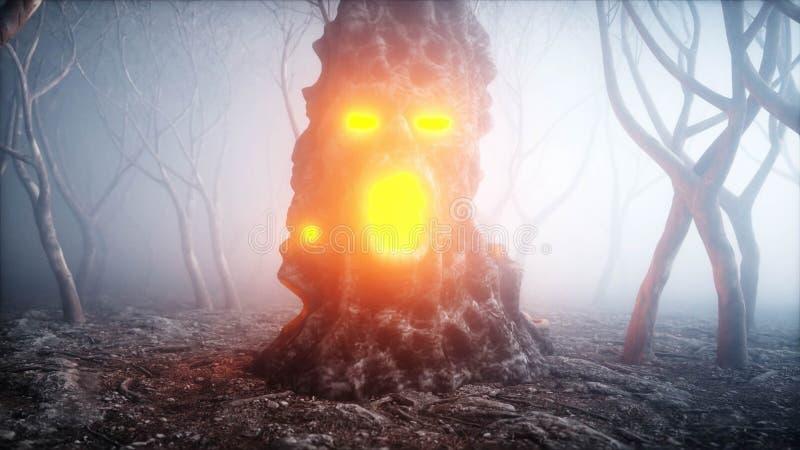 在雾夜森林恐惧和恐怖的石叫喊的头 万圣夜的Mistyc概念 3d翻译 向量例证