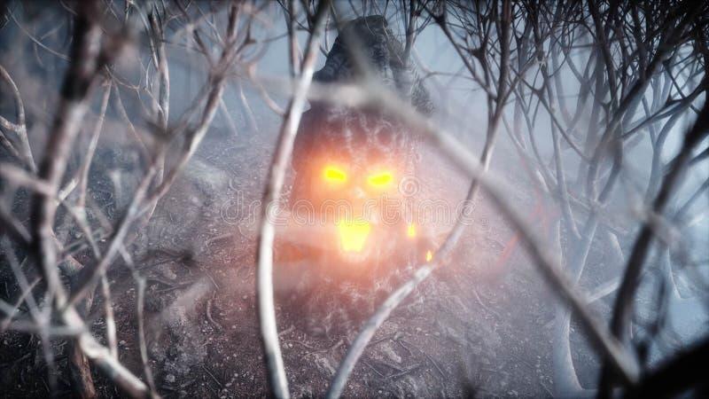 在雾夜森林恐惧和恐怖的石叫喊的头 万圣夜的Mistyc概念 3d翻译 皇族释放例证
