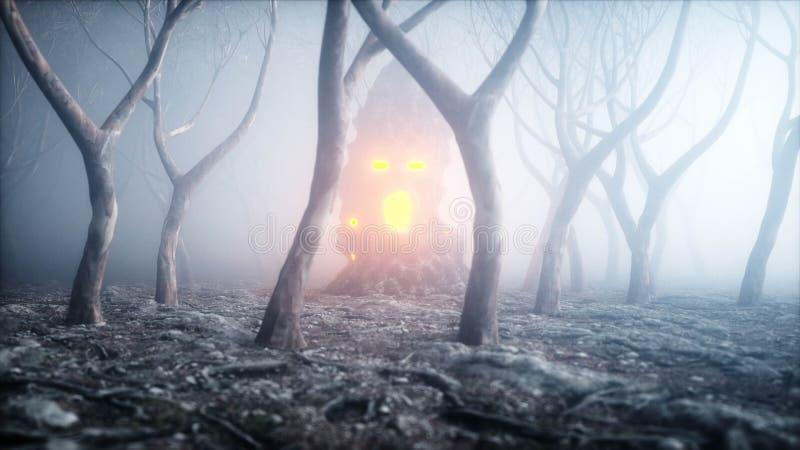 在雾夜森林恐惧和恐怖的石叫喊的头 万圣夜的Mistyc概念 3d翻译 库存例证