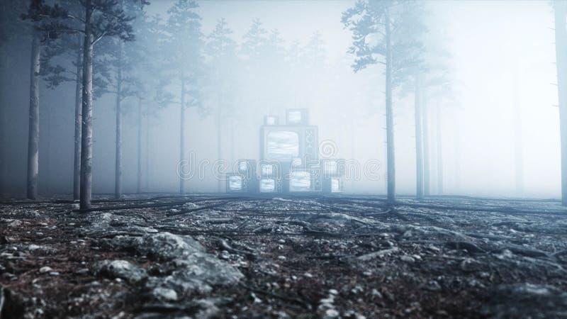 在雾夜森林恐惧和恐怖的老古董电视 Mistic概念 广播3d翻译 向量例证