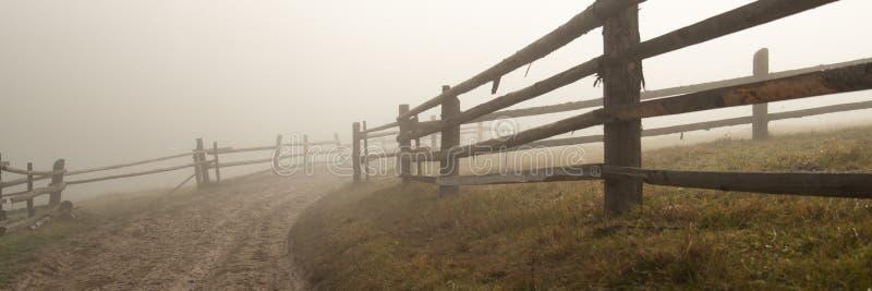 在雾的土路在秋天 免版税库存图片