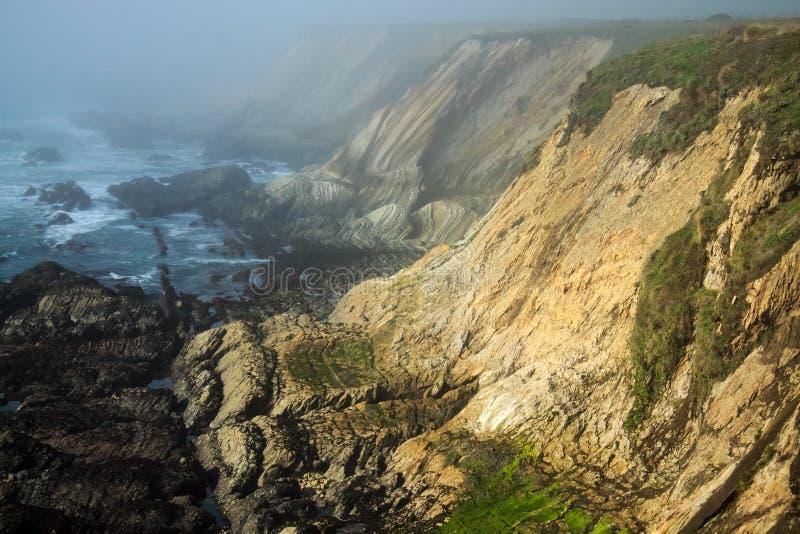 在雾的太平洋海岸峭壁 图库摄影