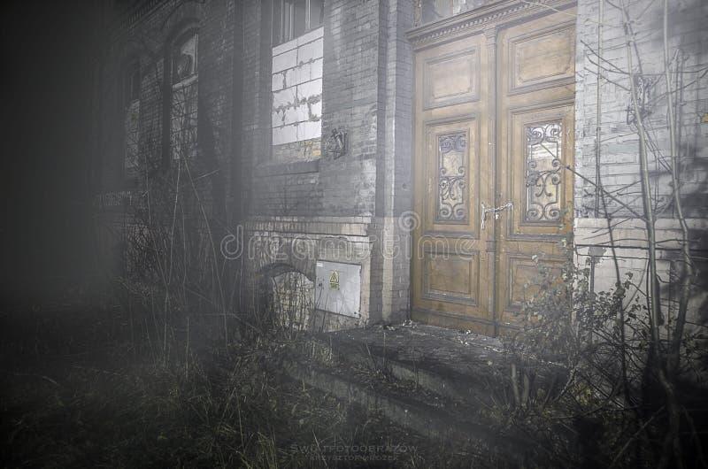 在雾的废墟 免版税库存照片