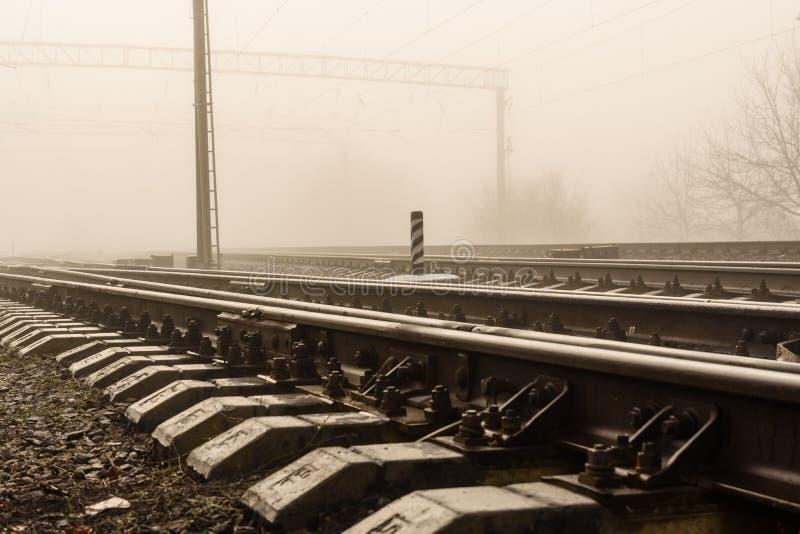 在雾的铁轨秋天 库存图片