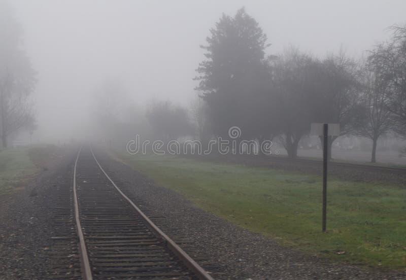 在雾的铁轨 图库摄影