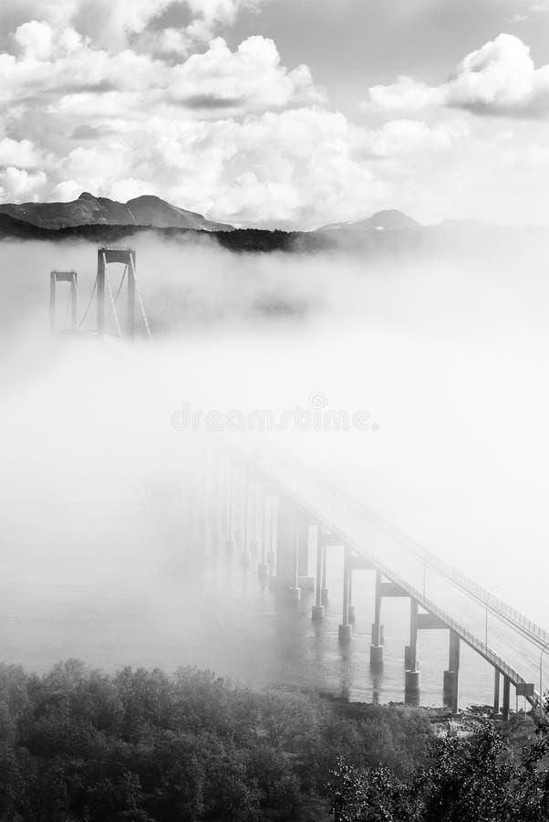 在雾,挪威的Tjeldsund桥梁 库存图片