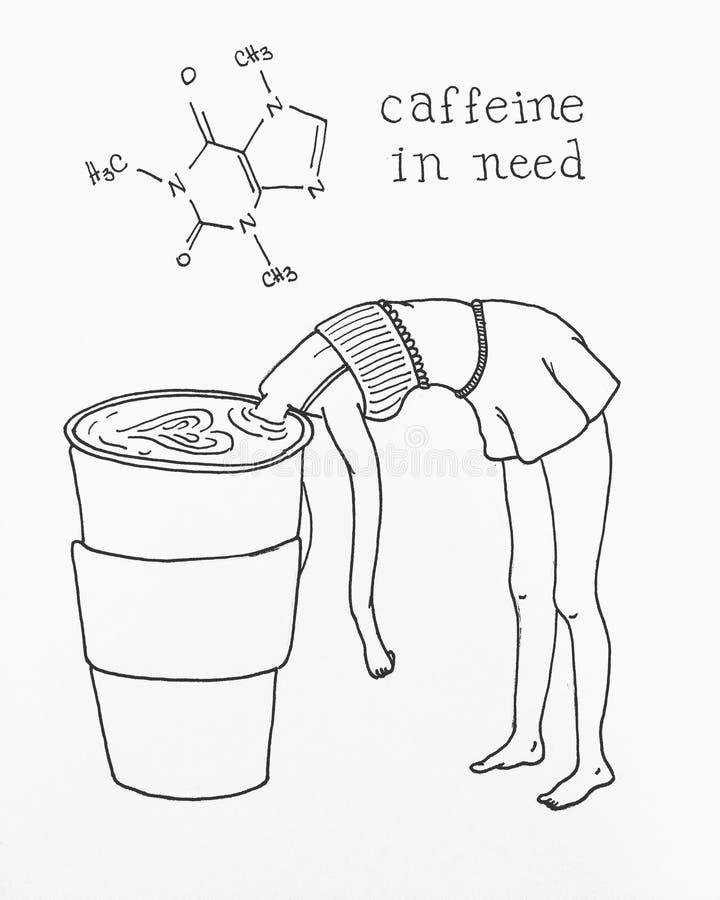 在需要的咖啡因 皇族释放例证