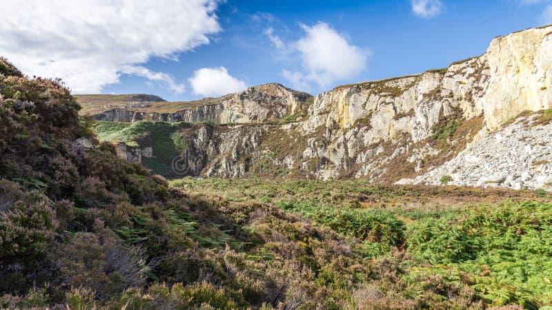 在霍利黑德防堤国家公园和北部堆之间的Anglesey风景 库存图片