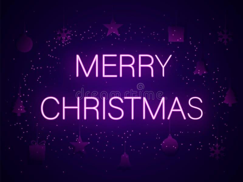 在霓虹信件的圣诞快乐 也corel凹道例证向量 向量例证