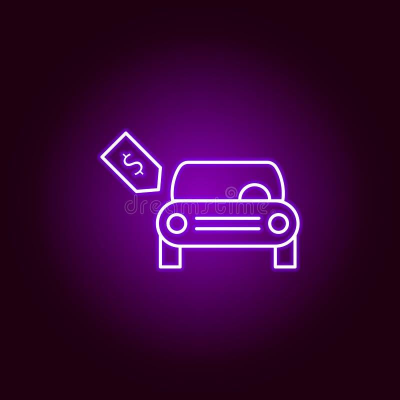 在霓虹样式的全新的汽车美元标记概述象 汽车在霓虹样式象的修理例证的元素 标志和标志能 向量例证