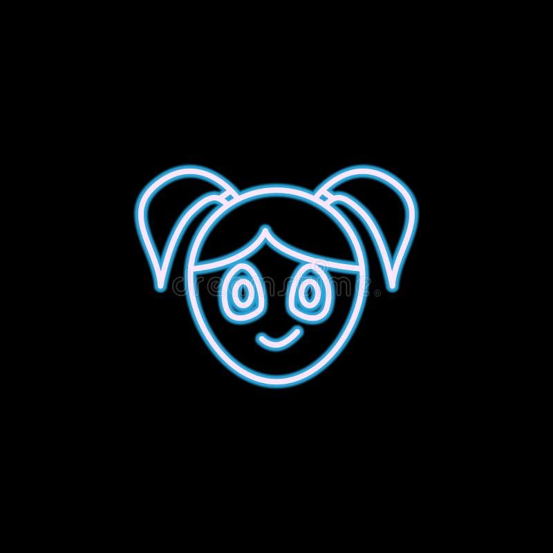 在霓虹样式的得意洋洋的女孩面孔象 一情感汇集象可以为UI, UX使用 皇族释放例证