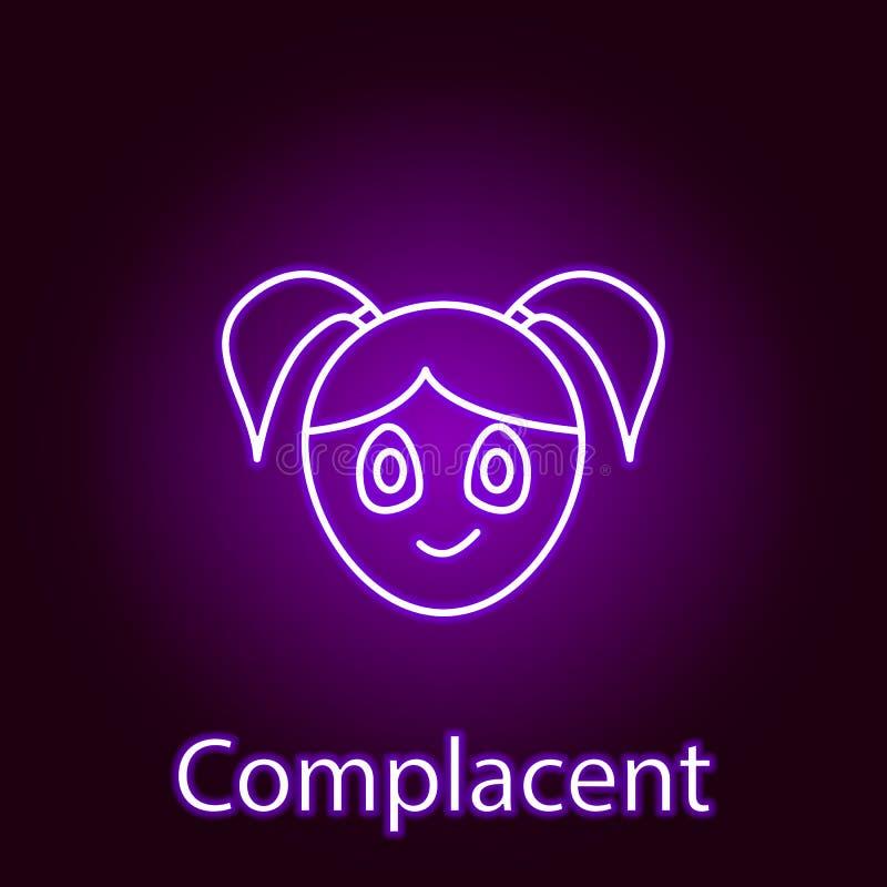 在霓虹样式的得意洋洋的女孩面孔象 情感的元素流动概念和网应用程序例证的 标志和标志能 库存例证