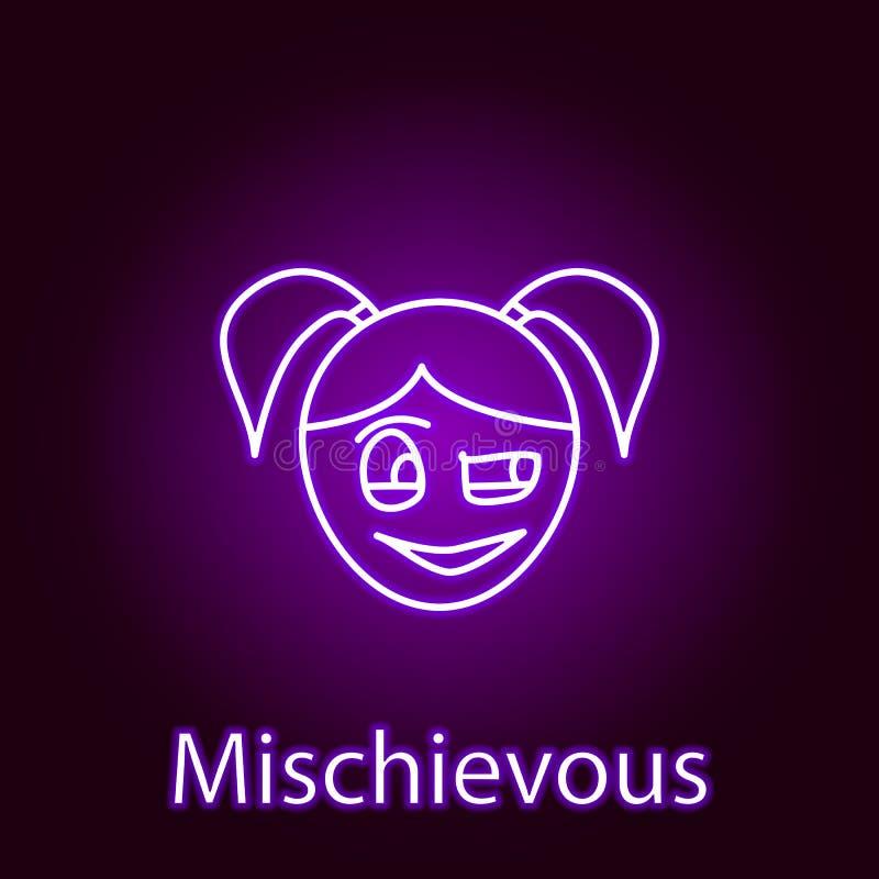 在霓虹样式的恶作剧女孩面孔象 情感的元素流动概念和网应用程序例证的 标志和标志能 向量例证