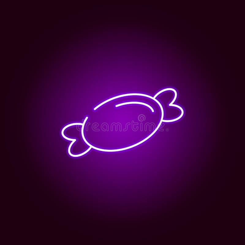 在霓虹样式的甜点象 万圣节例证的元素 标志和标志汇集象网站的,网络设计 皇族释放例证