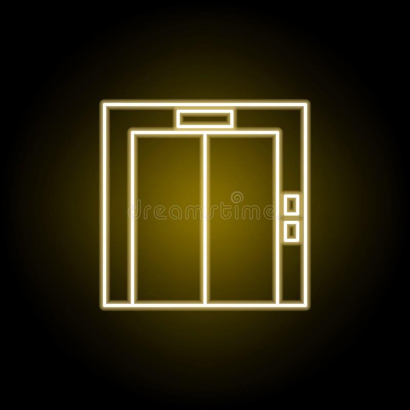 在霓虹样式的电梯象 E 库存例证
