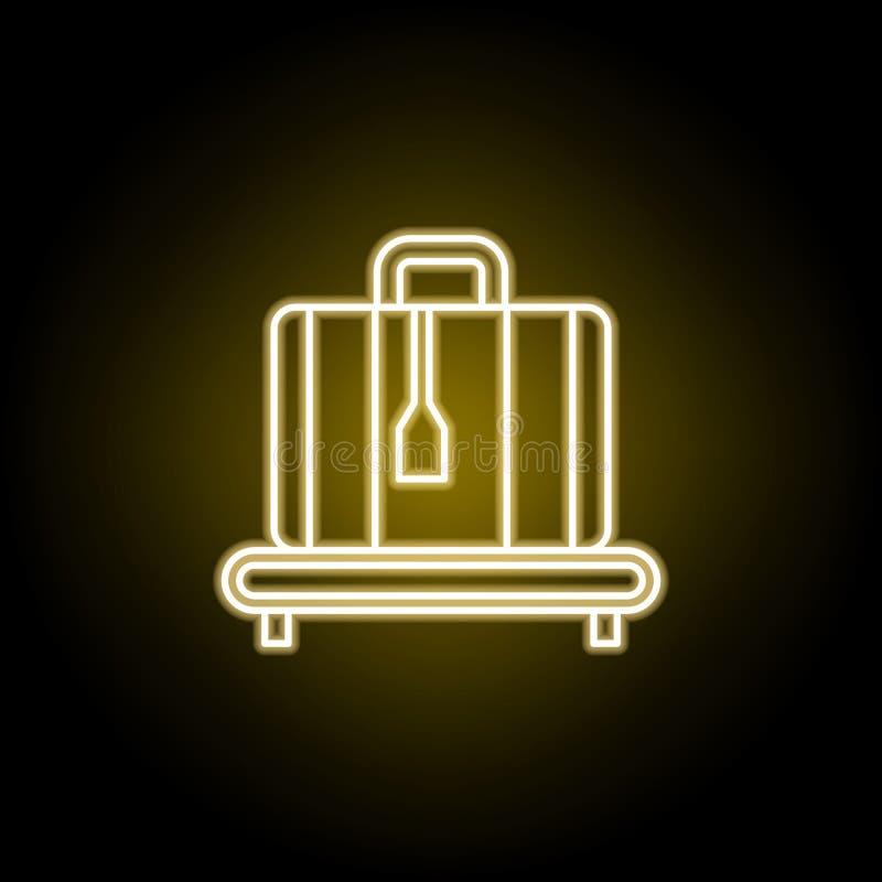 在霓虹样式的被标记的手提箱象 旅行例证的元素 E 皇族释放例证
