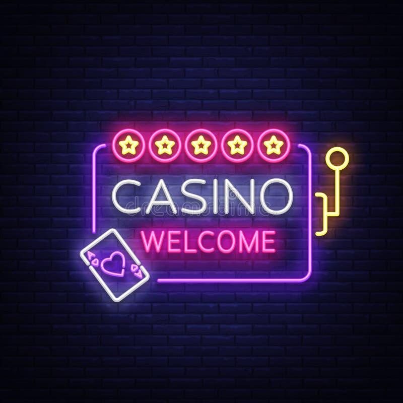 在霓虹样式的赌博娱乐场受欢迎的商标 构思设计餐馆模板 霓虹灯广告,轻的横幅,夜霓虹广告牌,明亮的光 库存例证
