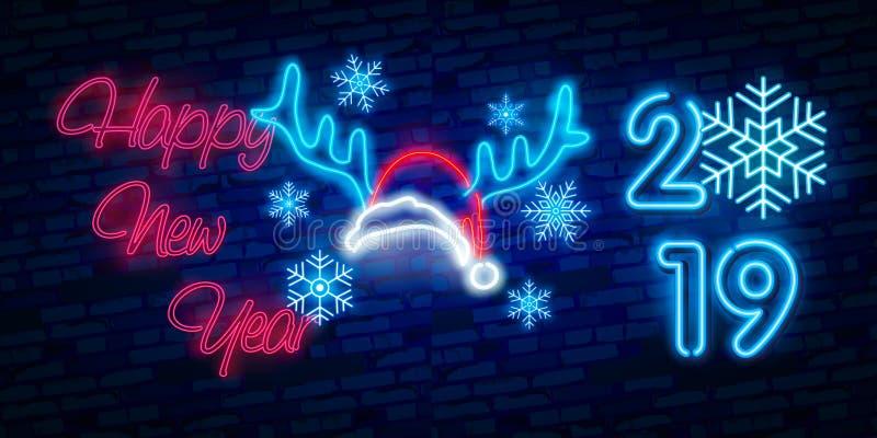 在霓虹灯广告上写字2019年 霓虹ny符号体育场美国人 圣诞快乐和新年快乐横幅、商标、象征和标签 明亮的牌,轻的ba 库存例证