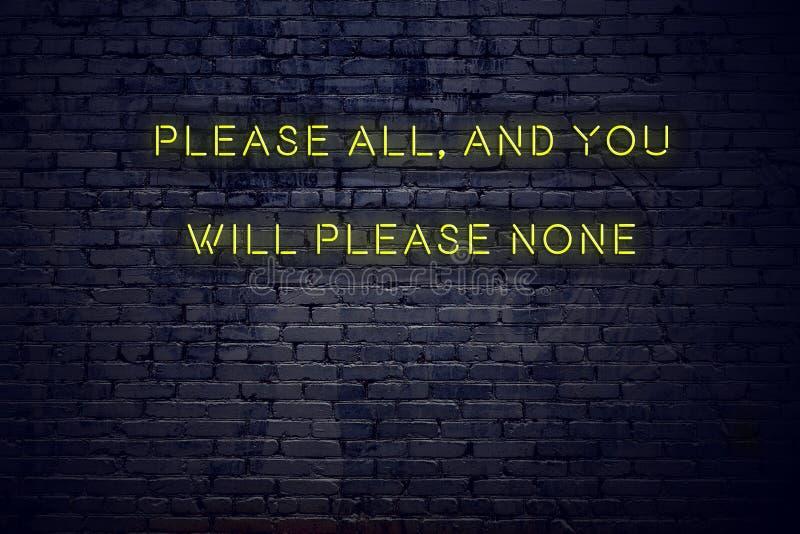 在霓虹灯广告的正面富启示性的行情什么都对砖墙请所有和您不会取悦 库存图片