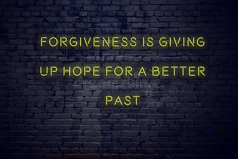 在霓虹灯广告的正面富启示性的行情反对砖墙饶恕放弃希望更好的过去 向量例证