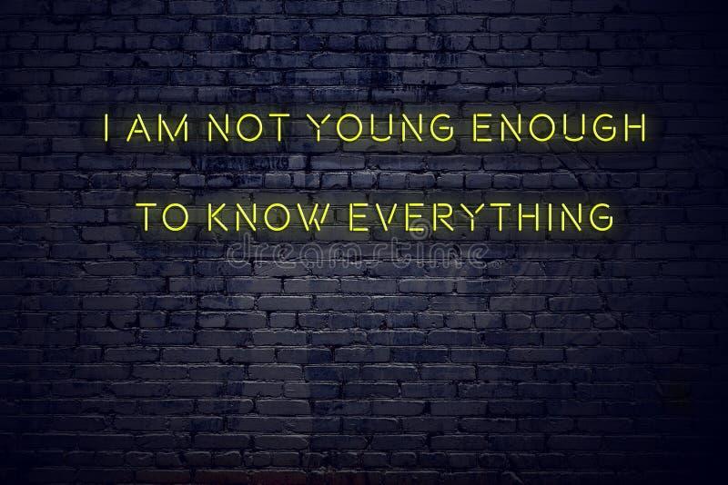 在霓虹灯广告的正面富启示性的行情对砖墙i不是足够年轻的认识一切 向量例证