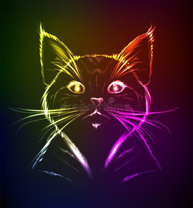 在霓虹灯的一只逗人喜爱的小猫 皇族释放例证