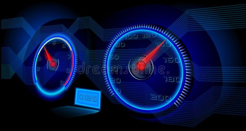 在霓虹灯的仪表板与高科技元素 皇族释放例证