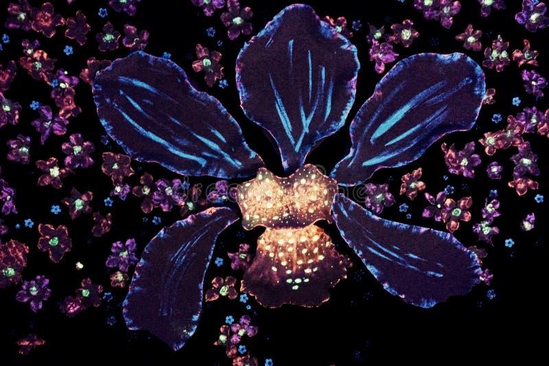 在霓虹灯的兰花艺术 免版税库存照片