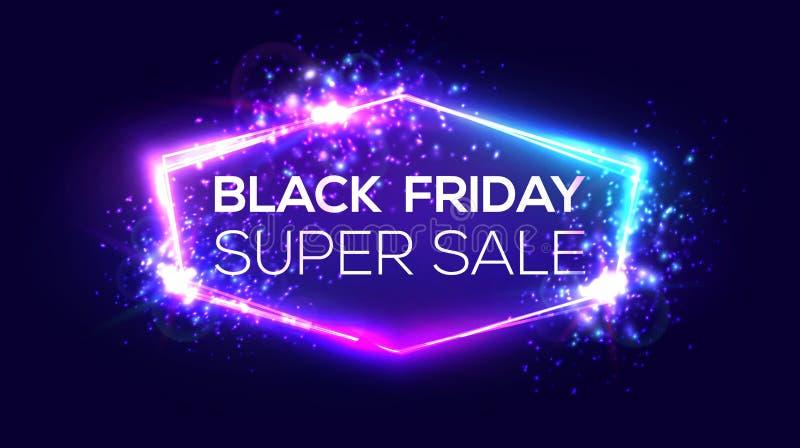 在霓虹背景的黑星期五超级销售横幅 库存例证