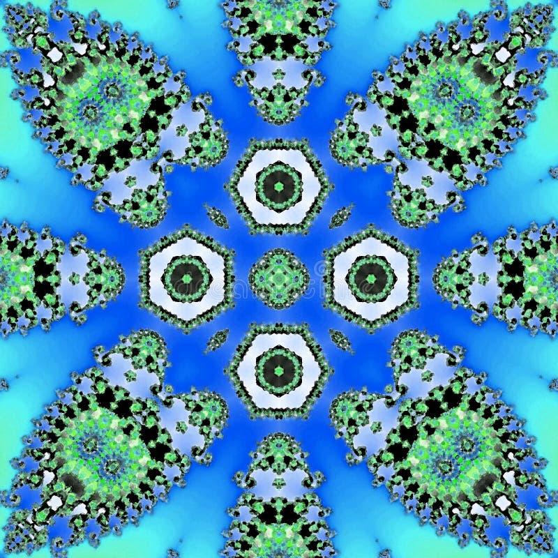 在霓虹蓝色的抽象蝴蝶瓦片 向量例证
