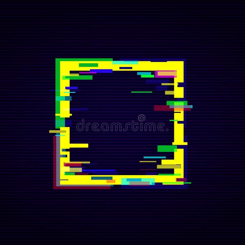 在霓虹颜色传染媒介例证的被变形的小故障数字样式正方形框架 皇族释放例证