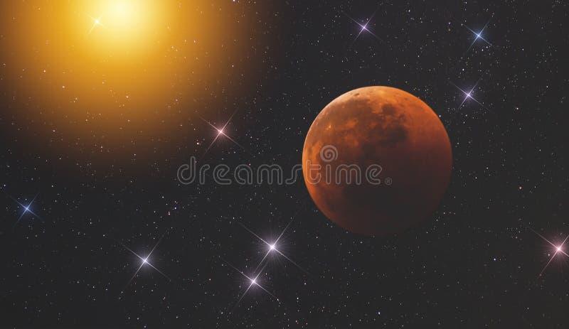 在露天场所的行星反对不尽的一些的背景点燃s的强光的我们的宇宙星和星系  免版税库存图片